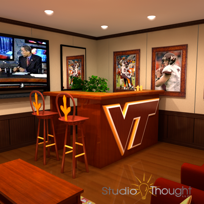 "VT Hokie ""play room"" or ""party room"" - 3D Visualization"