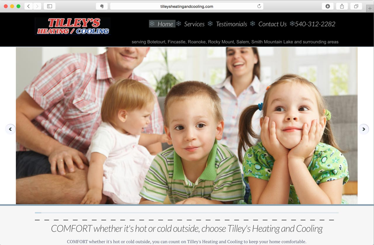 Tilly's Heating and Cooling website