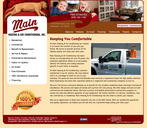 Main Heating and Air website