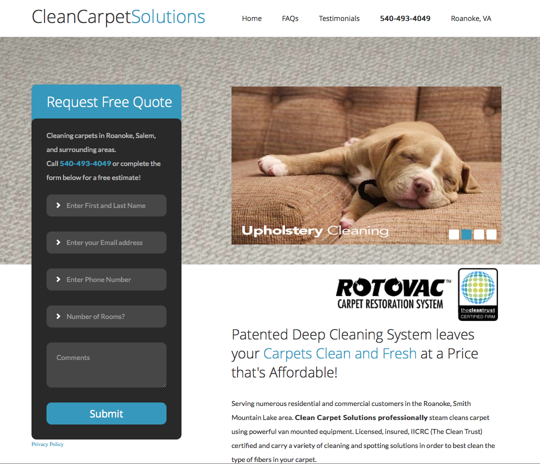 Clean Carpet Solutions website redesign